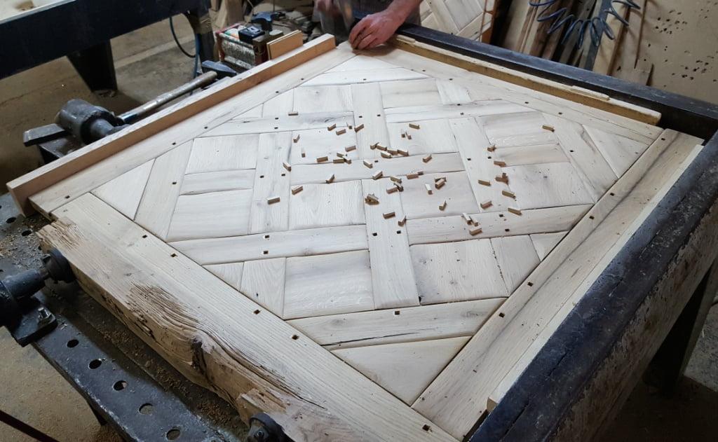 Antique contoured reclaimed Versailles parquet flooring panels_2